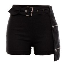 Summer Sexy Club Gothic High Waist Women Shorts Black Slim Thin Asymmetric Zipper Solid Harajuku Office Ladies Fashion Shorts