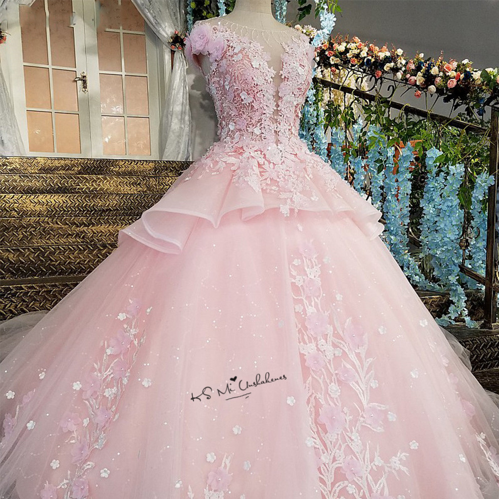 Fleur rose de luxe robe de mariée 2018 robe de bal robes de mariée dentelle Vestido de Casamento Cap manches diamant bohème robe de mariée