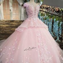 Pink Flower Luxury Wedding Dress 2018 Ball Gown Bride Dresses Lace Vestido De Casamento Cap Sleeve