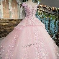Różowy Kwiat Luksusowa Suknia Ślubna 2018 Suknia Balowa Suknie Bride Lace Vestido de Casamento Suknia Ślubna Cap Sleeve Diamentowe Czeski