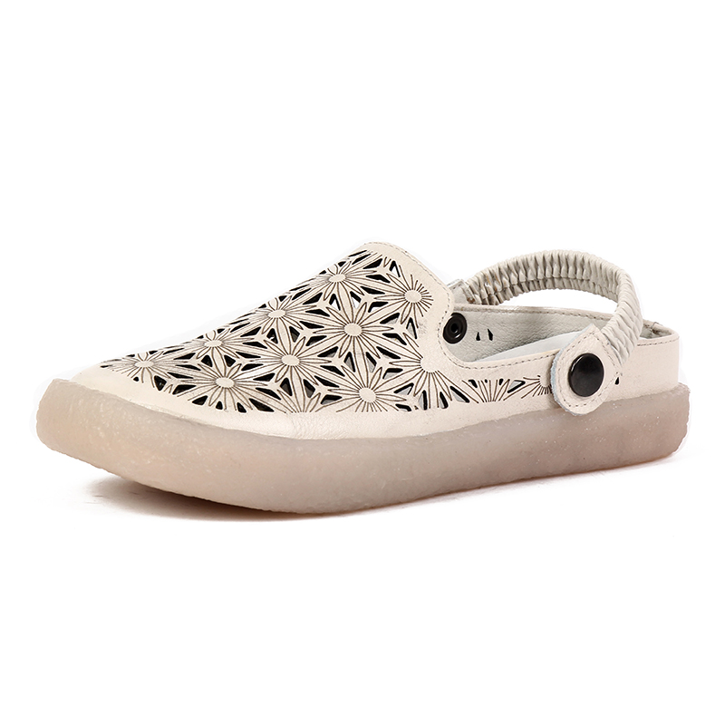 Genuine Leather Women Shoes Hollow Elastic band Handmade Casual leather Shoes Soft Casual Women Sandals women shoes handmade genuine leather