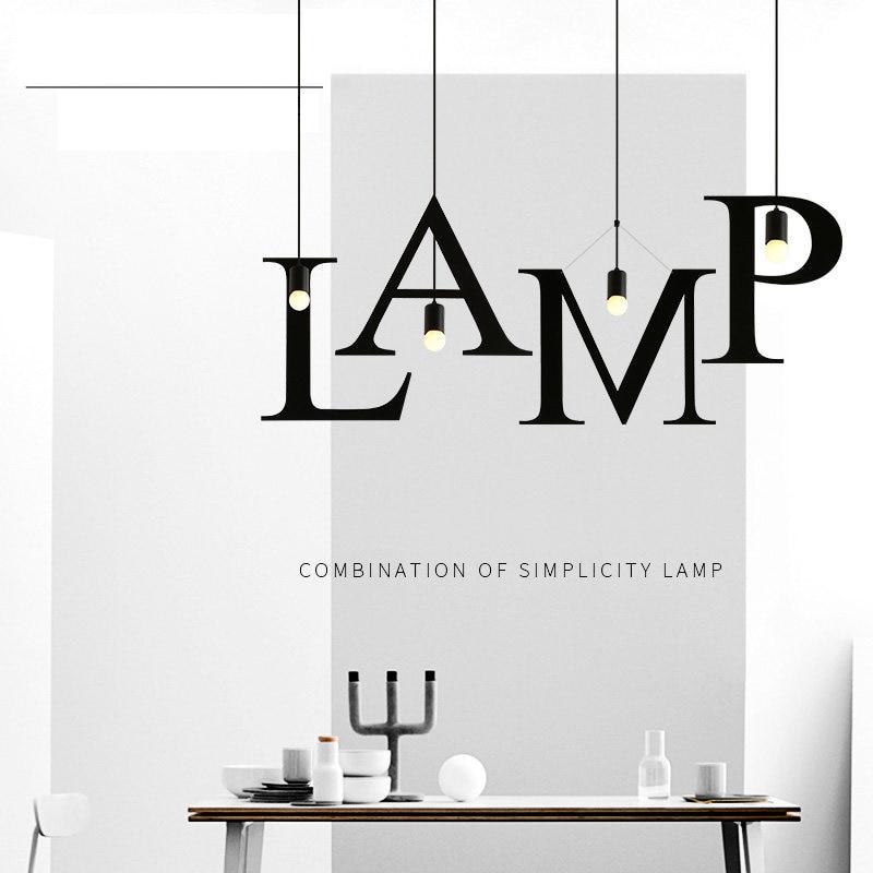 Pendant Lights Hanging Lamp 26 Letters Iron Pendant Lighting Industrial Style Bar Restaurant Cafe Study Hanging Lights Creative Suspension Lamp