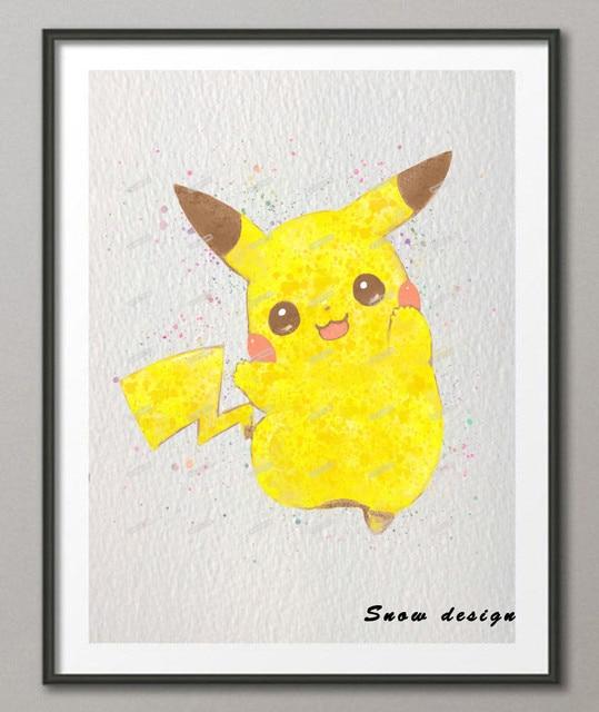 Acuarela Original Pokemon Pikachu Anime manga de pintura pop lienzo ...