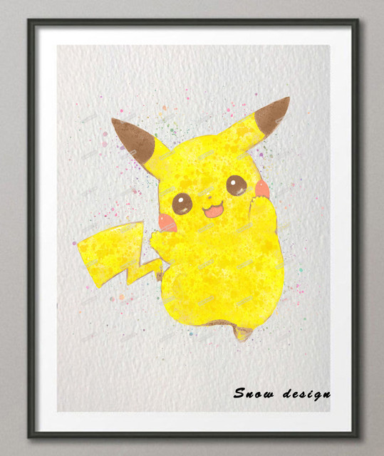 Original Watercolor Pikachu Pokemon Canvas Painting Pop Anime Manga Wall Art Poster Prints Picture Home Decoration
