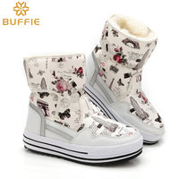 Lady Buffie Brand Fashion shoes mixed natural wool winter Women boots girl flower waterproof thermal snow boots colourful boots