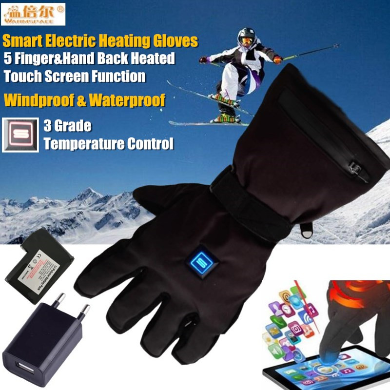 RU Clearance USB Smart Touch Screen Electric Heated Gloves,Ski Windproof Lithium Battery 5Finger&Hand Back Self Heating,3 Gear