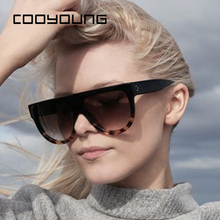COOYOUNG Fashion Sunglasses Women Flat Top Style Br