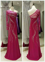Artesanal custume longo rose red one-ombro vestidos vestido de noite 2017 do baile de finalistas do partido da sereia vestidos formais vestido vestido de festa