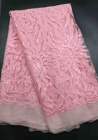 French Net Lace Fabric 2017 Latest African Guipure Lace Fabric With Embroidery Mesh Tulle Pink Cord