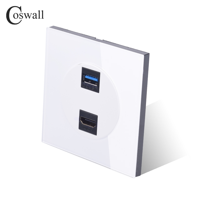 Coswall Crystal Tempered Glass Panel HDMI 2.0 Port USB 3.0 Jack Wall Power Socket Outlet AC 110~250V R11 Series