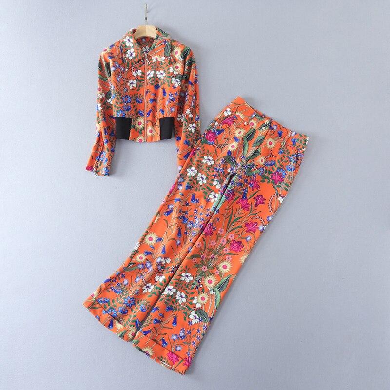แฟชั่นฤดูใบไม้ร่วงฤดูหนาวสูทชุดสตรีที่สง่างามหวานดอกไม้ดอกไม้พิมพ์แจ็ค