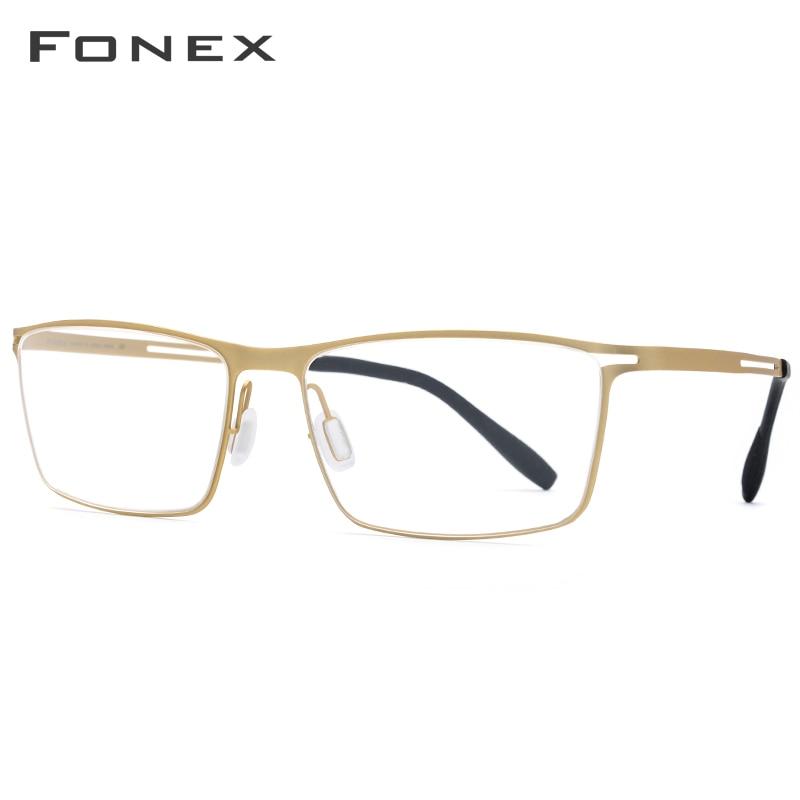 Image 2 - FONEX B Titanium Glasses Frame Men Semi Rimless Prescription Eyeglasses Ultralight Myopia Optical Frame Screwless Eyewear 874-in Men's Eyewear Frames from Apparel Accessories