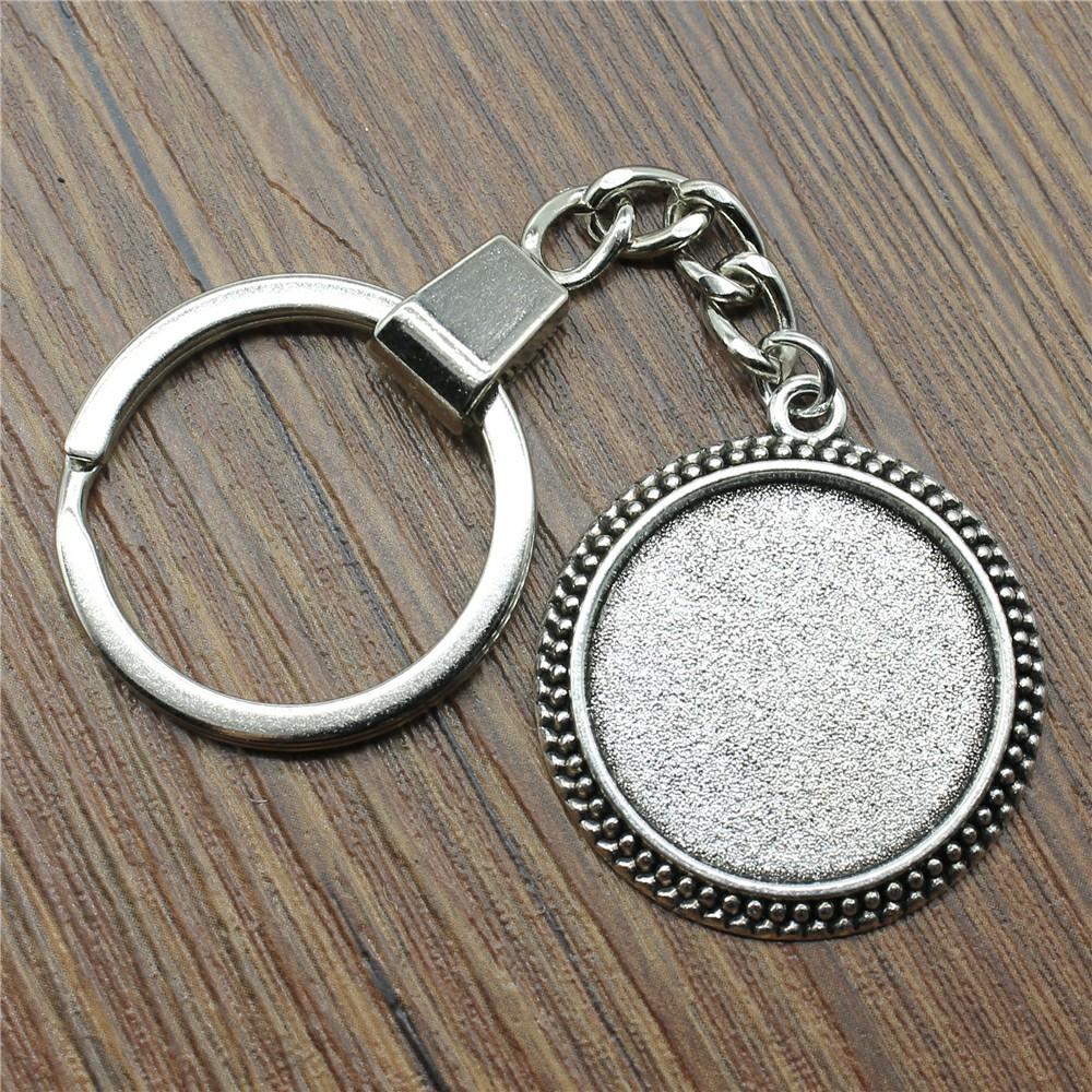 30 Styles Fit 25mm Round Glass Cabochon Key Chain Base Setting Jewelry Finding Jewelry Accessories For Keyring Making DIY