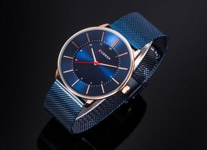 Image 2 - CURREN nowa moda prosty styl biznes mężczyźni zegarki Ultra cienkie męskie zegarki na rękę kwarcowy wodoodporny zegar Relogio Masculino