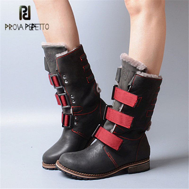 Prova Perfetto 2017 Winter Women Warm Snow Boots Buckle Straps Genuine Leather Low Heel Fur Boots Retro Mid-calf Botas Mujer prova perfetto winter women warm snow boots buckle straps genuine leather round toe low heel fur boots mid calf botas mujer