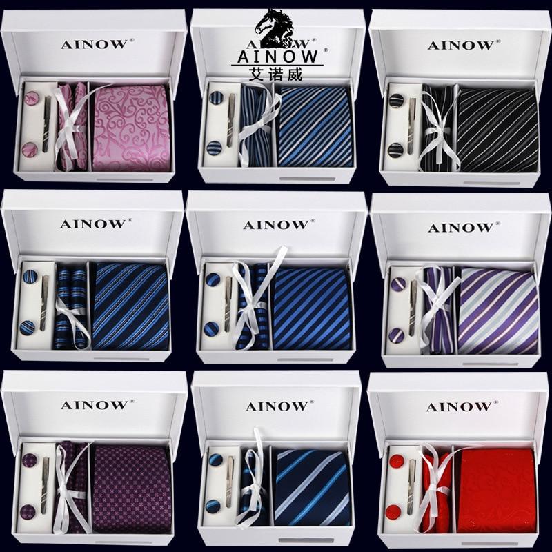 Tie Set Brand Mens Ties Causal Jacquard Woven Ties for Men Handkerchief  Cufflink Business High grade Gift Box 6 Sets Necktie|jacquard woven ties| ties for menties for men brand - AliExpress