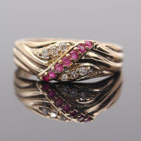 Beautiful Natural Ruby AAA CZ Gem 925 Silver Ring Gold Plated