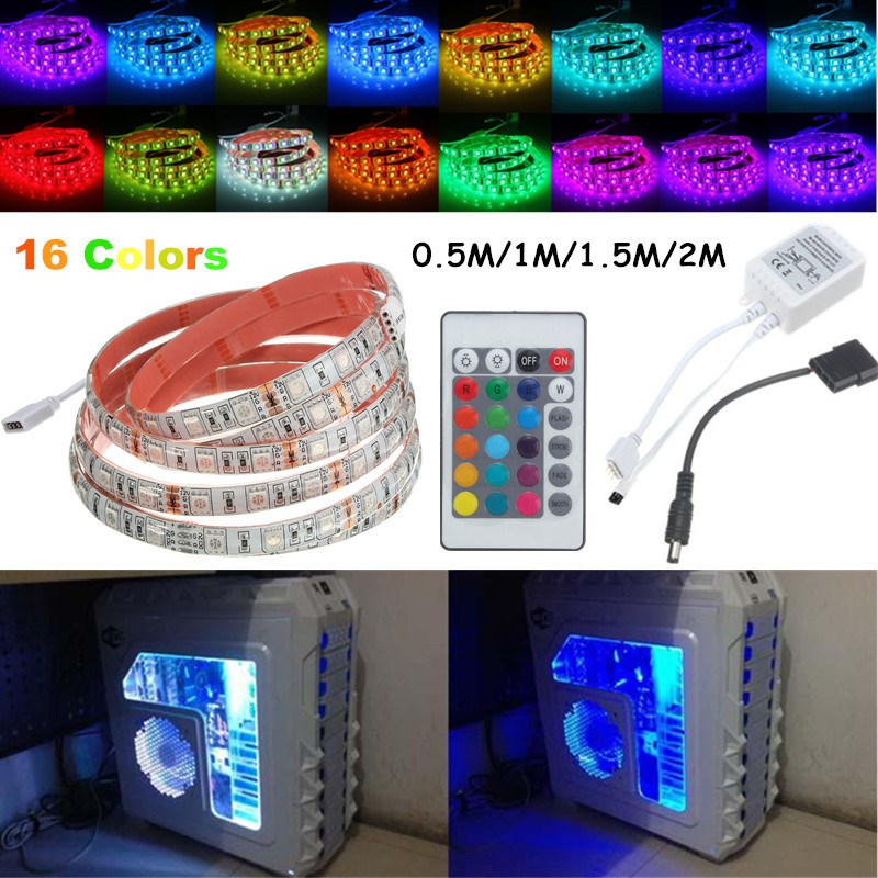 Super brillante 0.5 M/1 m/1.5 m/2 M RGB SMD 5050 16 colores LED tira PC chasis luces con 24 teclas Control remoto 12 V
