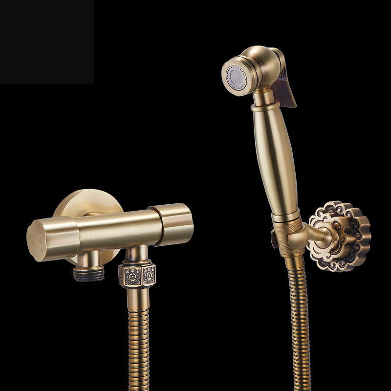 best quality dual handle bathroom toilet flush spray head with hand shower bracket antique brass bidet