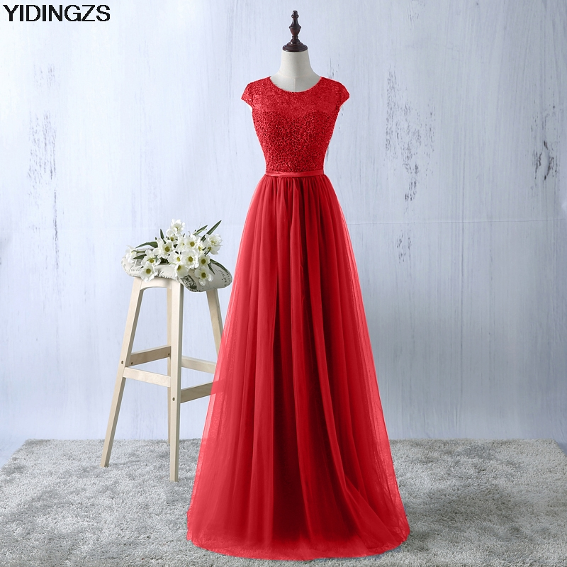 YIDINGZS Green Evening Dress 2017 New Arrive Lace Tulle A line Formal Longo Robe De Soiree