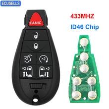 6--1/7-Button Remote Uncut-Blade Id46-Chip Jeep Smart-Car Chrysler Dodge PCF7941 434mhz