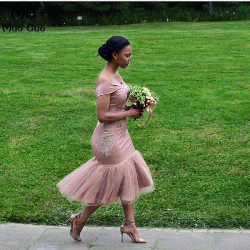 2019 Lace Off Shoulder Bridesmaid Dresses Tea Length Formal Wedding Party Dress With Appliques Lace Tulle Women Bridesmaid Dress