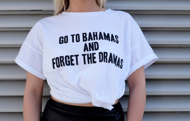 c079fa6a6 Go To Bahamas And Forget The Dramas T-Shirt Casual Cotton T Shirt Fashion  Women Tops Funny Letter Printed Feminism Tees Shirt