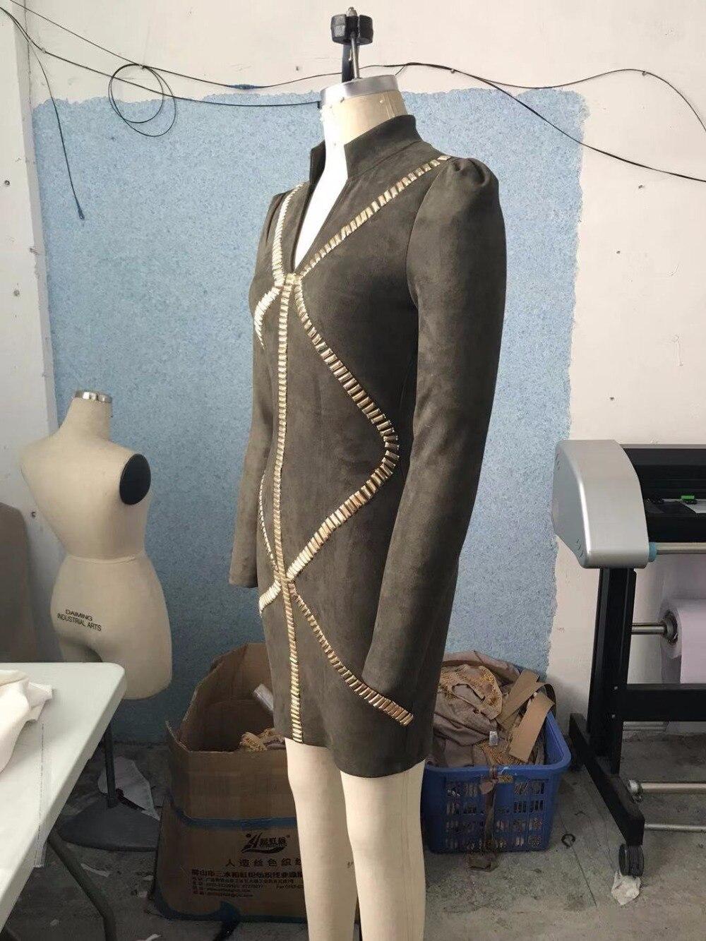 2018 Designer Mode Élégante Cou De Soirée Armée Robe Nouveau Moulante Sexy Perles V Concepteur Femmes Vert Automne vmnN80w