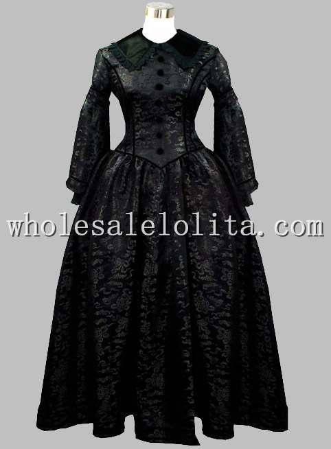 Готический Черный Brocade Викторианской Era Период Dress Воспроизводства Хэллоуин Тематические Costume Dress - Цвет: Черный