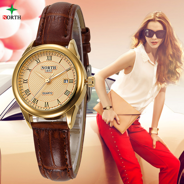 Relojes Mujer 2017 Casual Lady Gold Watch Women Bracelet Wristwatch Leather Coup