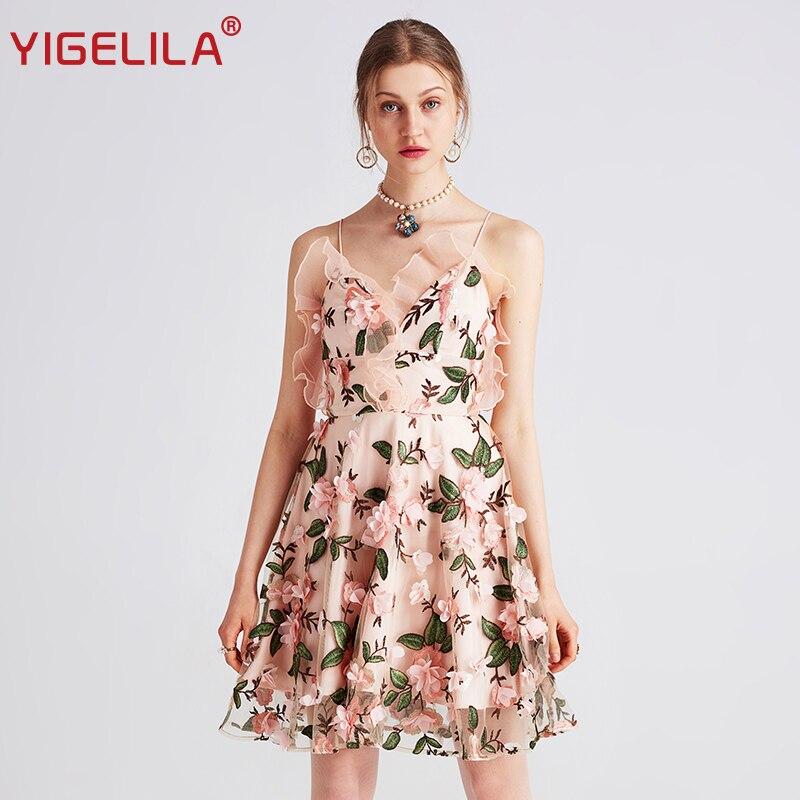 Yigelila V Courroie 2019 Ruches Mini 62785 Été Sexy Mode Maille Empire Multi Col De Plage Broderie Robe Gaine Dernières Femmes EbeWIYD9H2