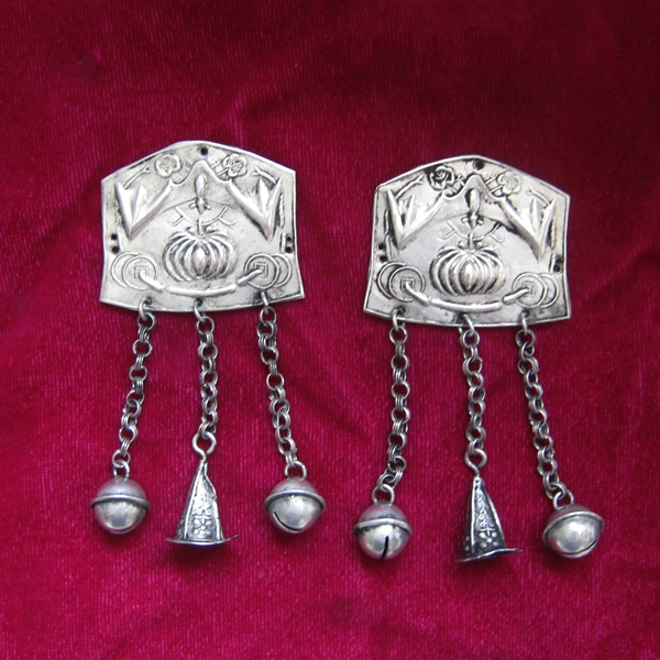 US $14 24 25% OFF Ethnic style Hmong jewelry handmade Miaoyin DIY  accessories clothes bag silver piece pendant 1pc-in Jewelry Findings &  Components