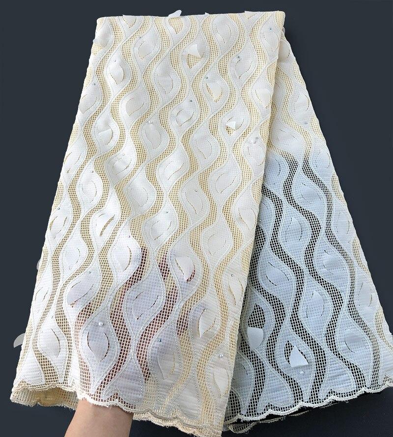 Suave Polvo azul corte a mano encaje africano Guipure bordado francés tela de encaje con un montón de piedras de lentejuelas elegante 5 yardas-in encaje from Hogar y Mascotas    2