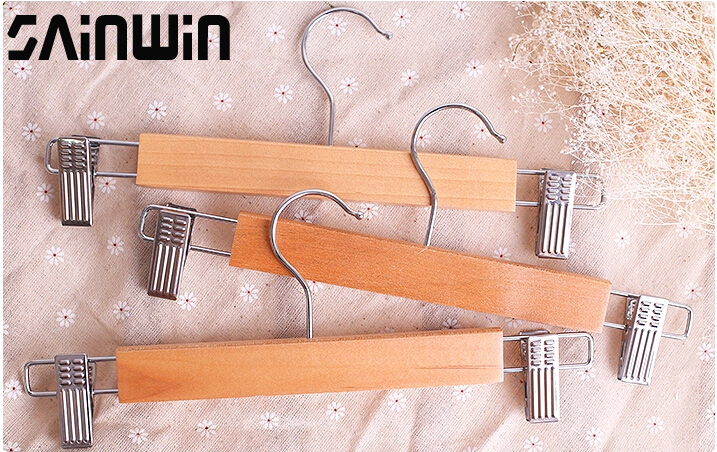 Sainwin 5pcs/lot Top Schima Wood Hanger Stainless Steel Clip Wooden Hangers For Pants For Skirt Clothes Rack 3 Style