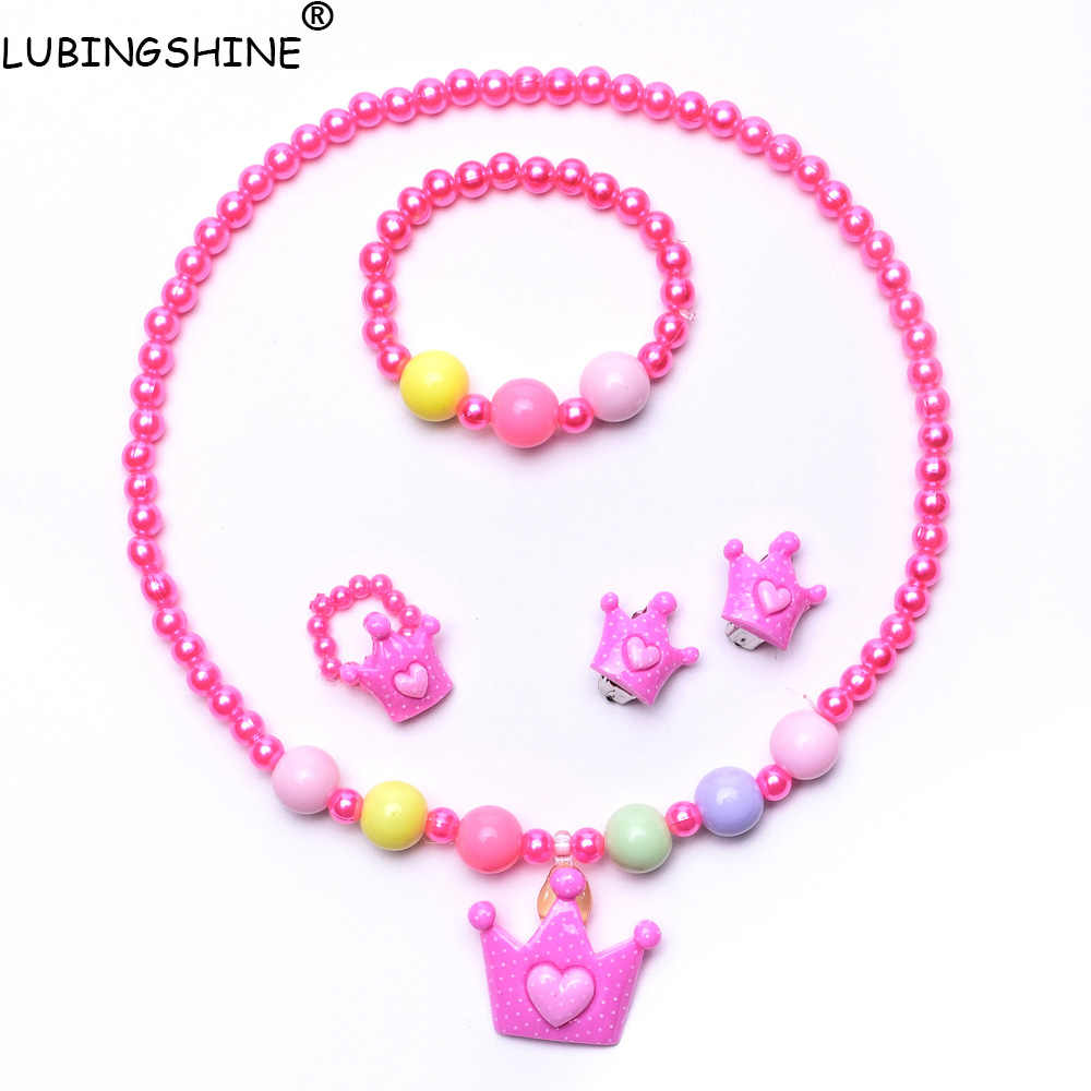 2017 New Candy Color Children Necklace Jewelry Set Kids Baby Necklace Bracelet Ring Hair Bands Clips Glasses Set Children T2