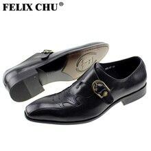 FELIX CHU Mode Modernen Herren Slip Auf Schnalle Echtes Leder Brogue Formale Mann Kleid Schwarze Schuhe Partyabend Hochzeit #185-01