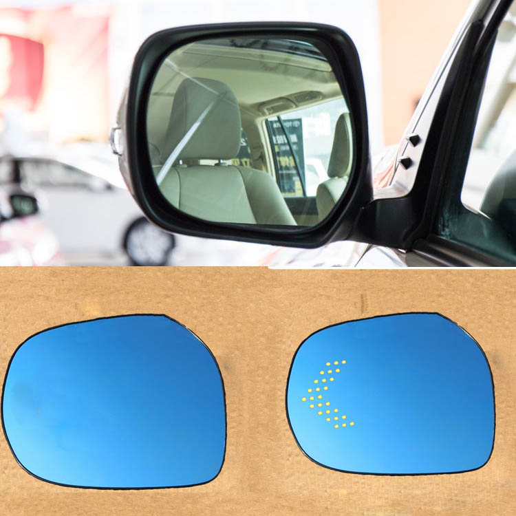 Ipoboo 2pcs New Power Heated w/Turn Signal Side View Mirror Blue Glasses For Toyota Prado Land Cruiser