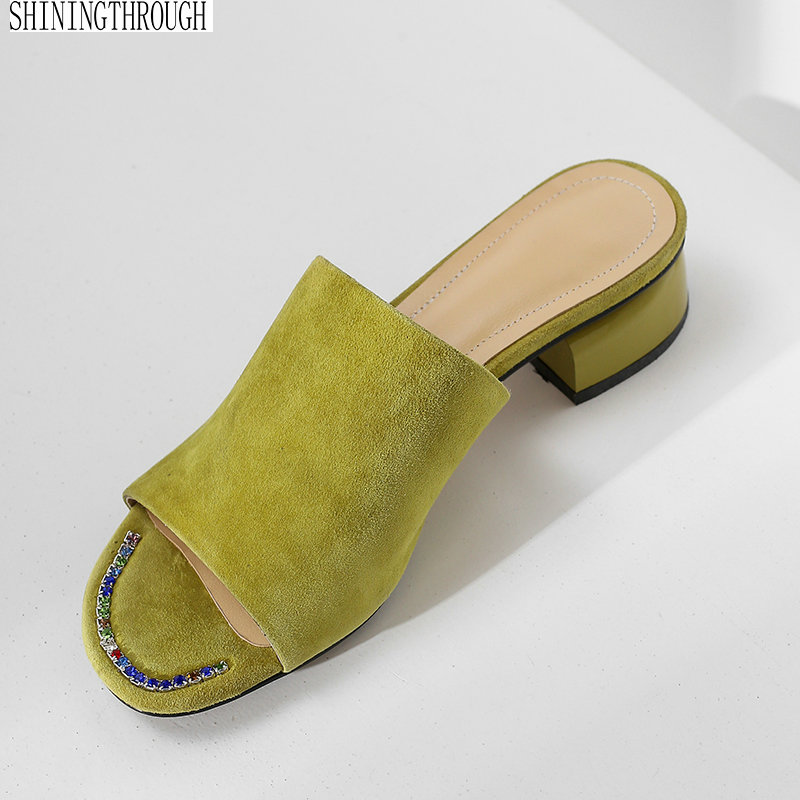 Low heels slippers woman green suede leather summer shoes sandals woman sexy ladies party shoes