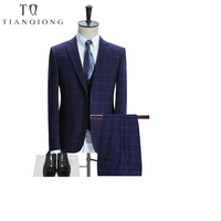 TIAN QIONG Brand Plaid Suit Men 2018 Slim Fit Mens Formal Wear Male Business Suits High Quality 3 Piece Groom Wedding Suit S/3XL