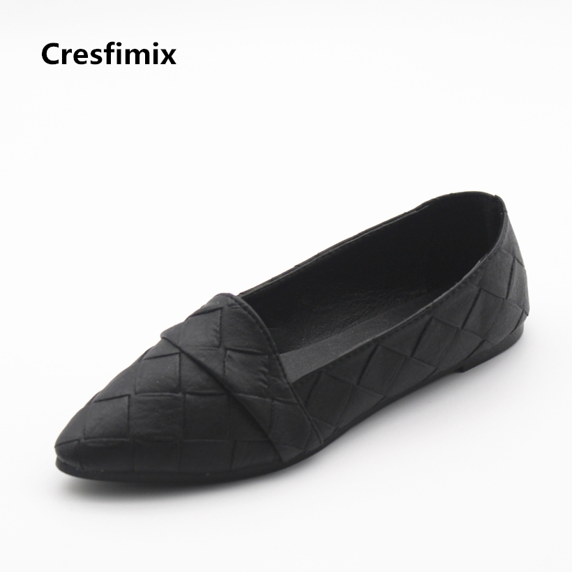 Cresfimix sapatos femininos women casual pointed toe black flat shoes lady leisure plaid slip on flats female grey summer shoes cresfimix sapatos femininos women casual soft pu leather pointed toe flat shoes lady cute summer slip on flats soft cool shoes