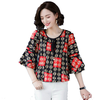 Woman Chiffon Blouse Red Green Floral Print Tunic Spring Summer Three Quarter Sleeve Tops For Women Round Collar Crepe Shirts XL