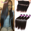 7A Brazilian Straight Hair With Closure 4 Bundles With Frontal Closure Straight Human Hair Bundles With Frontal Closure Weave