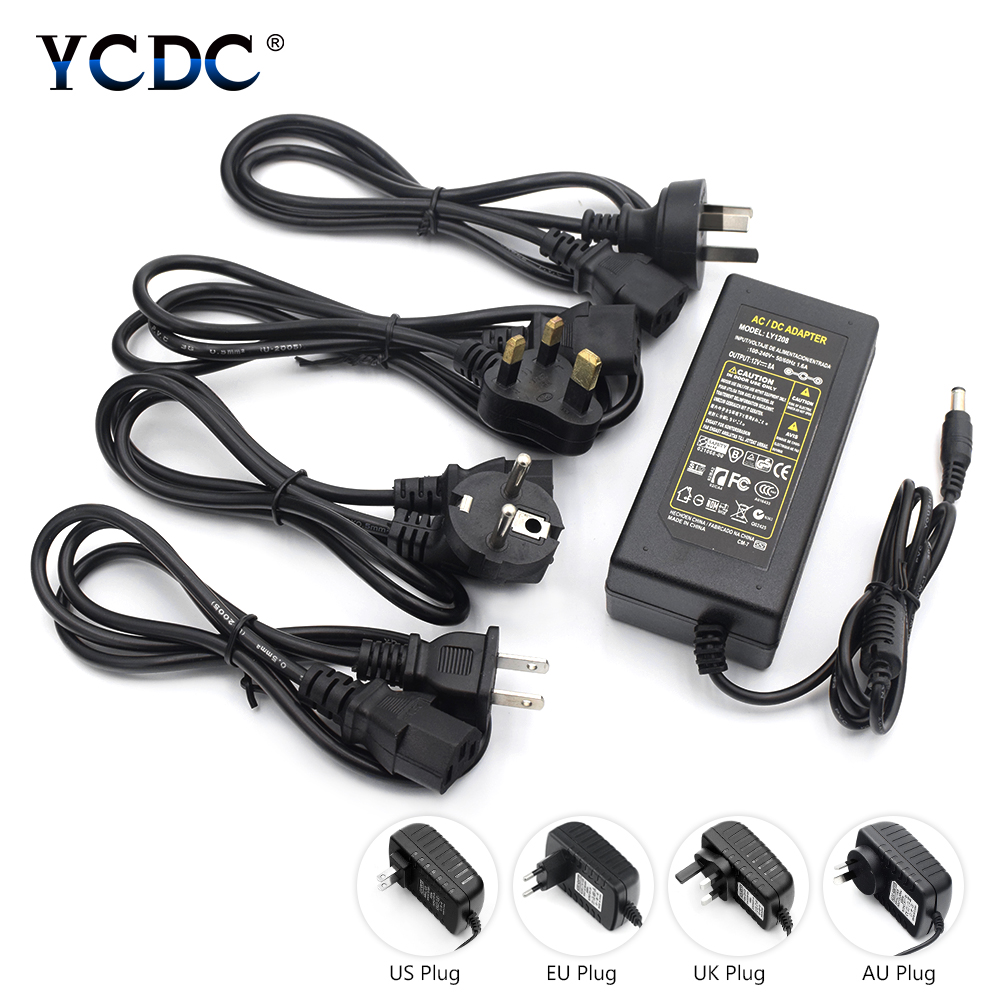 Drop Shipping AC 100-240V to DC 12V 1A 2A 3A 5A 6A 7A 8A EU US UK AU Plug Switching Power Supply Converter Adapter 60W 72W 96W ac 100 240v dc converter adapte 5v 1a 2a 3a eu us au uk charger plug switching power supply power adapter various dc plugs