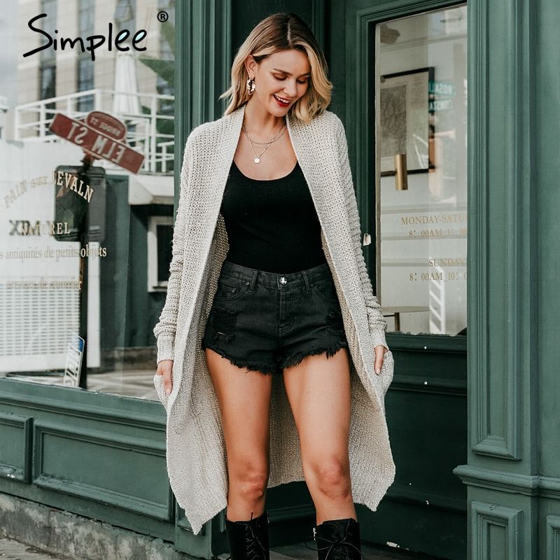 Simplee Women Knitted Long Cardigan Winter 2018 Loose Casual Sweater Cardigan Korean Fashion Ladies Cardigan Jumpers Streetwear