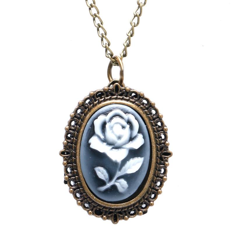 Elegant Flower Case Mirro Shape Women's Necklace Pendant Fob Pocket Watch For Ladies Best Birthday Christmas Gift