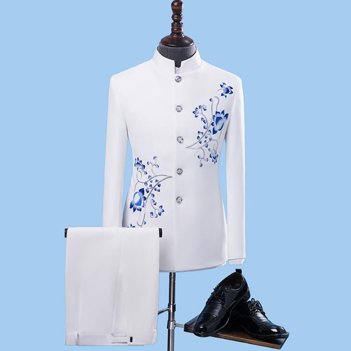 Retro Blazer Men Formal Dress Latest Coat Pant Designs Suit Men Chinese Tunic Suit Stand Collar Wedding Suits For Men's White