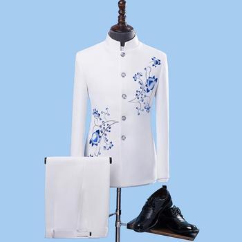 Retro blazer men formal dress latest coat pant designs suit men chinese tunic suit stand collar wedding suits for men's white Men's Fashion