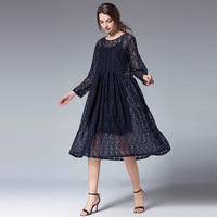 2018 Spring New loose lace dress two pieces set plus 4XL size