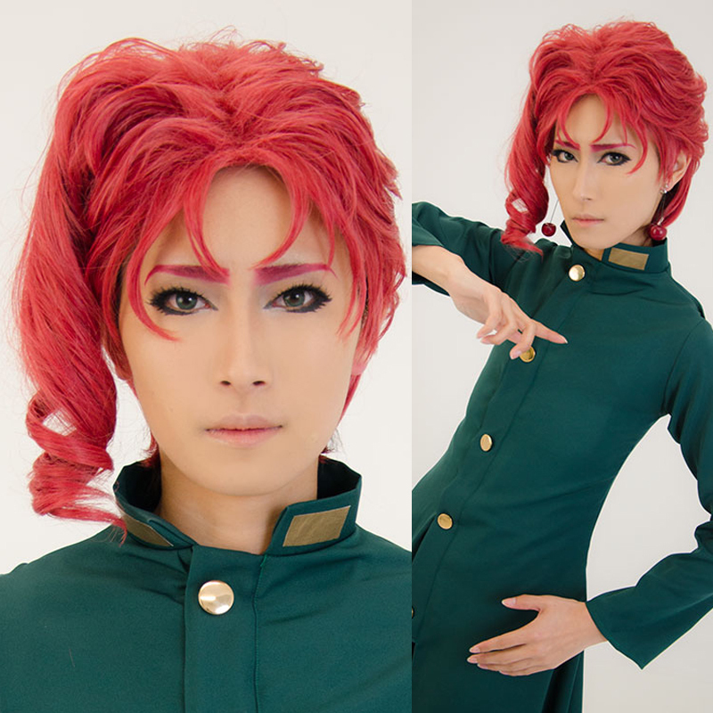 Kakyoin Noriaki From JOJO 14 Red Curly Short High Temperature Fiber Syntheitc Hair Cospl ...