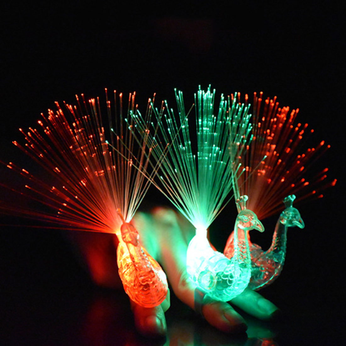 LED Light-up Rings Peacock Finger Light Colorful Party Gadgets Kids Intelligent Toy for Party Gift Color Random